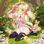 1girl :3 animal_ears bangs black_legwear blonde_hair blush boots bow bowtie breasts bunny bunny_ears bush buttons character_request copyright_request detached_collar detached_sleeves dungeons_lord flower forest frills full_body fur_trim gloves glowing grass green_eyes heart high_heel_boots high_heels highleg highleg_leotard holding_ears kyoma_(yellowxcake) leotard long_hair looking_at_viewer lying mound_of_venus nature neck_ribbon nose_blush on_back on_ground open_mouth outdoors outline payot pink_gloves puffy_detached_sleeves puffy_sleeves ribbon sitting sky solo sparkle thigh_boots thigh_grab thighhighs tree very_long_hair wariza