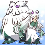 1girl abomasnow costume gradient_hair green_hair hair_ornament hitec moemon multicolored_hair personification pokemon pokemon_(creature) pokemon_(game) pokemon_dppt purple_eyes sleeves_past_wrists twintails white_hair