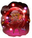1girl :d ascot blonde_hair chibi commentary_request fang flandre_scarlet full_moon hat highres looking_at_viewer magic_circle mob_cap moon one_side_up open_mouth red_eyes red_moon seele0907 skirt skirt_lift smile solo touhou wings