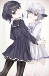 2girls abyssal_twin_hime_(black) abyssal_twin_hime_(white) bangs black_dress black_hair black_legwear blush dress frilled_dress frills green_eyes highres inorin05kanae kantai_collection long_sleeves multiple_girls nail_polish open_mouth pale_skin pantyhose purple_eyes sailor_collar shinkaisei-kan short_hair smile striped striped_legwear teeth white_dress white_hair white_legwear