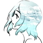 1girl bad_id bad_pixiv_id blue blue_hair lowres original pocchin profile short_hair simple_background sky solo