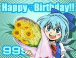 (9) 1girl blue_eyes blue_hair bouquet bow cirno flower hair_bow happy happy_birthday heart holding oonamazu short_hair smile solo touhou wings