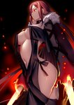 1girl bangs black_dress breasts brown_hair center_opening choker closed_mouth commentary_request consort_yu_(fate) dress ear_piercing earrings fate/grand_order fate_(series) fire fur-trimmed_jacket fur_trim highres hip_focus jacket jewelry long_hair long_sleeves multiple_earrings navel piercing rahato revealing_clothes ribbon-trimmed_dress solo strapless strapless_dress thighs very_long_hair