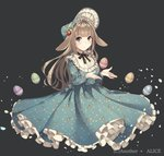 1girl absurdres animal_ears anotherxalice bangs blue_dress blue_eyes blunt_bangs bonnet brown_hair bunny_ears copyright_name dress easter easter_egg egg floppy_ears floral_print food_themed_hair_ornament frills full_body grey_background hair_ornament highres long_dress long_hair long_sleeves looking_at_viewer neck_ribbon nyasunyadoora official_art parted_lips petticoat ribbon simple_background solo strawberry_hair_ornament very_long_hair
