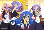 4girls :3 absurdres alternate_costume apron blue_eyes blue_hair blush clock enmaided food glasses green_eyes hair_ribbon highres hiiragi_kagami hiiragi_tsukasa horiguchi_yukiko izumi_konata long_hair lucky_star maid mole mole_under_eye multiple_girls official_art open_mouth parfait pink_hair purple_hair ribbon scan short_hair siblings sisters smile sweatdrop table takara_miyuki tray twins twintails waitress