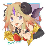 1girl :d ahoge armlet bare_shoulders bat_wings biscuit_x blonde_hair blue_eyes blush bracer character_name collarbone demon_girl demon_horns forehead_jewel gauntlets heart horns leaning leaning_forward looking_at_viewer lowres multicolored_eyes open_mouth pointy_ears purple_eyes puzzle_&_dragons smile solo text wicked_lady_(p&d) wings