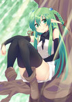 1girl ankle_boots ass bare_shoulders black_legwear boots braid bridal_gauntlets brown_boots convenient_censoring dress green_eyes green_hair hair_bobbles hair_ornament hair_ribbon highres in_tree legs_up long_hair nigo_(aozoragarou) original pointy_ears ribbon sitting sitting_in_tree sleeveless sleeveless_dress smile solo thighhighs tree turtleneck twin_braids very_long_hair white_dress zettai_ryouiki