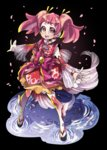 1girl :d black_background bright_pupils brooch detached_sleeves earrings full_body japanese_clothes jewelry kimono looking_at_viewer ninomae open_mouth pink_eyes pink_hair precure precure_dream_stars sakura_(precure) sandals see-through short_hair simple_background smile solo standing thighhighs twintails