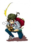1boy backpack bad_id bad_pixiv_id bag baseball_cap belt_pouch blush_stickers denim earphones fingerless_gloves full_body gloves golden_boy hat jeans kmkl kneeling long_hair male_focus notebook ooe_kintarou pants pen shirt shoes simple_background smile sneakers solo watch wristwatch writing