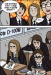 1girl 2boys dogado glasses harry_james_potter harry_potter hermione_granger hogwarts_school_uniform korean long_hair multiple_boys parody ron_weasley studying sweat translated webtoon