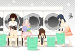 4girls :d alternate_costume bandaged_arm bandages bandaid bandaid_on_face bandaid_on_knee black_shorts blue_hair blush book breast_envy breasts brown_eyes brown_hair check_translation commentary_request dog_tags expressionless eyebrows_visible_through_hair flat_chest floral_print gradient_dress grey_shorts grey_tank_top hair_down holding holding_book japanese_clothes jewelry kaga_(kantai_collection) kantai_collection kimono knees_together_feet_apart large_breasts laundromat laundry_basket long_hair looking_at_another multiple_girls necklace open_mouth partially_translated pink_kimono reading ryuujou_(kantai_collection) shaded_face shirt short_hair shorts shoukaku_(kantai_collection) side_ponytail signature silver_hair sitting smile souryuu_(kantai_collection) stool sweatdrop tareme translation_request white_shirt yua_(checkmate)