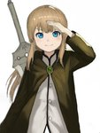 1girl bangs blonde_hair blue_eyes blush cloak commentary_request dot_nose green_clothes highres long_hair looking_at_viewer original salute simple_background smile solo sword_behind_back upper_body vest wasabi60 white_background white_vest