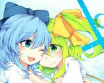 2girls blue_eyes blue_hair bow breasts cirno cleavage collared_shirt daiyousei friends green_eyes green_hair hair_bow hair_ribbon happy looking_at_another multiple_girls one_eye_closed one_eye_covered open_clothes open_collar open_mouth open_shirt reflective_eyes ribbon shiny shiny_hair shirt short_hair side_ponytail small_breasts smile tama_(soon32281) touhou upper_body white_shirt
