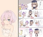 0_0 4girls 4koma :d :t @_@ ^_^ anchor_symbol animal_ears apron arm_up ayanami_(azur_lane) azur_lane bangs bare_shoulders beret black_dress black_hat blush bottle bow brown_hair bunny_ears chibi chocolate closed_eyes closed_mouth comic commander_(azur_lane) commentary dress drinking eating eyebrows_visible_through_hair food fork hair_between_eyes hair_bow hat highres holding holding_bottle holding_fork iron_cross jacket javelin_(azur_lane) laffey_(azur_lane) light_brown_hair long_hair marshmallow mixing_bowl multiple_girls nose_blush o_o open_clothes open_jacket open_mouth outstretched_arm peaked_cap pink_apron pink_jacket purple_eyes purple_hair silver_hair sleeveless sleeveless_dress smile spatula striped striped_bow translated twintails u2_(5798239) v-shaped_eyebrows very_long_hair wavy_mouth white_bow white_hat white_jacket yellow_apron z23_(azur_lane)
