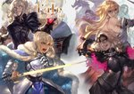 4girls absurdres armor armored_dress artoria_pendragon_(all) breastplate breasts cape commentary_request fate/grand_order fate_(series) fur-trimmed_cape fur_trim gauntlets glowing glowing_sword glowing_weapon highres holding holding_sword holding_weapon huge_filesize jeanne_d'arc_(alter)_(fate) jeanne_d'arc_(fate) jeanne_d'arc_(fate)_(all) large_breasts multiple_girls peperon_(peperou) saber saber_alter sword weapon