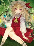 1girl arm_at_side ascot blonde_hair blurry blush bobby_socks butterfly_on_hand commentary_request crystal dappled_sunlight depth_of_field feet_out_of_frame flandre_scarlet frills grass hat hat_ribbon highres jpeg_artifacts knees_together_feet_apart long_hair long_sleeves looking_at_viewer mob_cap nail_polish on_grass one_side_up parted_lips pointy_ears red_eyes red_nails red_ribbon red_skirt red_vest ribbon shirt sitting skirt skirt_set socks solo sunlight touhou vest white_legwear white_shirt wings yedan yellow_neckwear