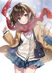 1girl bob_cut bow bowtie brown_eyes brown_hair buttons coat looking_at_viewer morikura_en open_clothes open_coat original plaid plaid_scarf plaid_skirt pleated_skirt red_scarf scarf school_uniform short_hair skirt sleeves_past_wrists smile snowflakes snowing standing teeth uniform wind wind_lift winter_clothes
