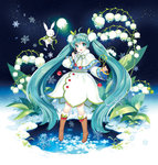 1girl :d absurdly_long_hair ahoge aqua_eyes aqua_hair boots bunny capelet flower fur_trim hairband hatsune_miku headset highres lily_of_the_valley long_hair looking_at_viewer nardack open_mouth sky smile snow snowflake_print snowflakes solo star_(sky) starry_sky very_long_hair vocaloid yuki_miku