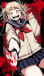 1girl bangs blonde_hair blood blunt_bangs blush boku_no_hero_academia cardigan commentary_request crazy_eyes double_bun fangs half-closed_eyes knife long_sleeves looking_at_viewer open_mouth pleated_skirt pointing pointing_at_viewer red_neckwear school_uniform serafuku short_twintails skirt smile teeth toga_himiko twintails uekan yellow_eyes