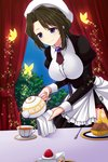 1girl blue_eyes brown_hair bug butterfly cake cup curtains food fork fruit hat highres insect juliet_sleeves long_sleeves maid pouring puffy_sleeves shannon smile sparkle strawberry tea teacup teapot umineko_no_naku_koro_ni uzu_hi