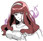 1girl aura bangs blunt_bangs breasts celica_(fire_emblem) cleavage dark_persona detached_collar earrings fire_emblem fire_emblem_echoes:_mou_hitori_no_eiyuuou fire_emblem_heroes hairband jewelry long_hair looking_at_viewer medium_breasts portrait red_eyes red_hair simple_background sketch smile solo spot_color tokusa_riko white_background