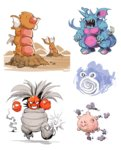 bummerdude claws clefairy closed_mouth commentary creature digging diglett exeggutor explosion fangs floating fusion gastly gen_1_pokemon ghost grin gyarados highres hole_on_body horns koffing multiple_heads nidoking no_humans open_mouth pokemon pokemon_(creature) poliwhirl simple_background smile smoke spiral standing voltorb walking white_background zubat