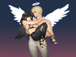 1boy 1girl angel angel_and_devil bikini_top black_hair black_pants black_wings bling_(wnsdud34) blonde_hair breasts carrying chain chain_necklace demon_girl demon_horns halo high_heels horns jewelry large_breasts leather leather_pants long_hair looking_at_another looking_away mabinogi mabinogi_heroes muscle necklace pants princess_carry red_eyes smile topless wavy_mouth white_pants white_wings wings