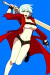 1girl bad_id bad_pixiv_id bandeau blue_eyes boots breasts cleavage coat dante_(devil_may_cry) devil_may_cry devil_may_cry_3 genderswap genderswap_(mtf) gloves large_breasts shorts sword tasasakiamagu underboob weapon white_hair
