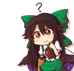 1girl ? arm_cannon bangs black_hair black_wings blush bow cape chibi commentary cowboy_shot eyebrows_visible_through_hair feathered_wings finger_to_mouth green_bow green_skirt hair_between_eyes hair_bow hand_up long_hair looking_at_viewer puffy_short_sleeves puffy_sleeves red_eyes reiuji_utsuho shirt short_sleeves sidelocks silhouette simple_background skirt smile solo space_print starry_sky_print touhou very_long_hair weapon white_background white_cape white_shirt wings wool_(miwol)