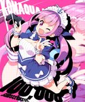 1girl anchor_symbol breasts cleavage commentary_request drill_hair english_text full_body hair_ribbon highres hololive hoppege long_hair looking_at_viewer maid_headdress medium_breasts minato_aqua multicolored_hair one_eye_closed playstation_controller purple_eyes purple_hair ribbon solo twin_drills v virtual_youtuber