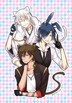 3boys animal_ears argyle argyle_background black_gloves black_hair brown_hair bunny_ears cat_ears cat_tail eyepatch gloves grin highres hood japanese_clothes kemonomimi_mode male_focus multiple_boys necktie omi_(0mim0) one_eye_closed ookurikara open_mouth partly_fingerless_gloves shokudaikiri_mitsutada smile tail tattoo touken_ranbu tsurumaru_kuninaga waistcoat white_hair yellow_eyes