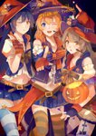 3girls absurdres bangs blue_eyes blue_hair blush commentary eyebrows_visible_through_hair fingerless_gloves girl_sandwich gloves grey_hair halloween hat headset highres jack-o'-lantern kousaka_honoka lanlanlu_(809930257) long_hair looking_at_viewer love_live! love_live!_school_idol_festival love_live!_school_idol_project minami_kotori multiple_girls navel one_eye_closed open_mouth pointing pointing_at_viewer pumpkin sandwiched skirt smile sonoda_umi striped striped_legwear thighhighs trick_or_treat witch witch_hat yellow_eyes