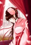 1girl bangs blunt_bangs brown_hair chinese_clothes commentary_request curtains earrings flower hair_flower hair_ornament hair_ribbon hair_rings hanfu indoors jewelry long_hair looking_down original partial_commentary petals red_ribbon ribbon shawl solo standing very_long_hair wide_sleeves wistaria99