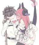 1boy 1girl bangs bare_shoulders black_blindfold black_pants blade_(galaxist) blindfold blue_ribbon blush brown_hair chair chaldea_uniform closed_eyes commentary_request curled_horns detached_sleeves dragon_girl dragon_horns dragon_tail elizabeth_bathory_(fate) elizabeth_bathory_(fate)_(all) eyebrows_visible_through_hair fate/extra fate/extra_ccc fate/grand_order fate_(series) fujimaru_ritsuka_(male) full-face_blush hair_between_eyes hair_ribbon hands_up horns imminent_kiss jacket long_hair long_sleeves pants parted_lips plaid plaid_skirt pointy_ears profile red_hair ribbon simple_background sitting skirt standing sweat tail tail_raised tears trembling two_side_up uniform very_long_hair white_background white_jacket white_skirt
