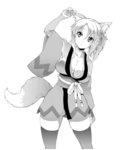 1girl :o animal_ears breasts cleavage collarbone dog_days flower fox_ears fox_tail hair_flower hair_ornament hair_ribbon japanese_clothes large_breasts long_sleeves monochrome ponytail ribbon simple_background skindentation soba_(saz) solo tail thighhighs white_background wide_sleeves yukikaze_panettone