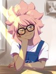 1boy :> blush chin_rest dark_skin dark_skinned_male glasses grey_eyes highres inazuma_eleven inazuma_eleven_(series) indoors long_hair looking_at_viewer male_focus overalls pink_hair shiroabe sitting smile solo tsunami_jousuke window