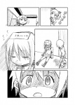 1boy 2girls abua comic corpse crutch greyscale highres kamijou_kyousuke kaname_madoka mahou_shoujo_madoka_magica miki_sayaka minigirl monochrome multiple_girls peeking_out translated