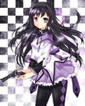 1girl akemi_homura argyle argyle_legwear black_hair black_legwear checkered checkered_background colored colored_eyelashes gun hairband highres jellylily long_hair mahou_shoujo_madoka_magica nightmare77zx pantyhose purple_eyes purple_skirt revolver skirt smile solo weapon