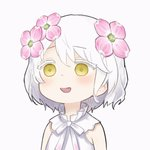 13o 1girl :d animated bangs bare_shoulders blush bow colored_eyelashes commentary_request dress eyebrows_visible_through_hair flower hair_between_eyes hair_flower hair_ornament kudou_chitose looking_at_viewer nijisanji open_mouth pink_flower sleeveless sleeveless_dress smile solo ugoira upper_body virtual_youtuber white_background white_bow white_dress white_hair yellow_eyes