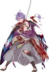 1boy armor blood blue_eyes cape flower full_body hakama highres homerun_ken injury japanese_armor japanese_clothes kasen_kanesada katana kiwame_(touken_ranbu) male_focus official_art one_eye_closed petals purple_hair sword torn_cape torn_clothes touken_ranbu transparent_background weapon wince