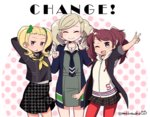 3girls arms_behind_head arms_up ayase_yuka blonde_hair brown_hair cosplay costume_switch do_m_kaeru hair_ornament hairclip hood hoodie houndstooth kujikawa_rise looking_at_viewer multiple_girls open_collar open_mouth pantyhose persona persona_1 persona_4 persona_5 school_uniform shuujin_academy_uniform skirt smile takamaki_anne trait_connection twintails twitter_username unmoving_pattern yasogami_school_uniform
