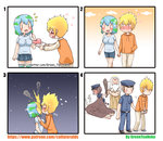 2girls 3boys :d >_< absurdres angry artist_name bangs beard belt black_belt black_footwear blonde_hair blue_footwear blue_hair blue_headwear blue_pants blue_shirt blue_skirt blush breasts brown_hair brown_pants brown_robe brown_shirt closed_eyes closed_mouth club collared_shirt comic commentary_request cuffs drawstring earth-chan envelope eyebrows_visible_through_hair facial_hair fire god green_hair greenteaneko hair_between_eyes halo hand_in_pocket handcuffs hands_on_another's_shoulders hat heart hetero highres holding holding_envelope holding_hands hood hood_down hoodie kiss kneehighs kneeling large_breasts letter long_sleeves love_letter multicolored_hair multiple_boys multiple_girls muscle night night_sky nose_blush open_mouth orange_hoodie original pants peaked_cap personification pleated_skirt pointing pointing_at_self pointy_ears police police_hat police_uniform policeman policewoman print_legwear robe shirt shoes short_hair short_sleeves silent_comic skirt sky sleeves_pushed_up smile smoke standing star_(sky) starry_sky sweater_vest taut_clothes taut_shirt thighhighs uniform upper_teeth veins watermark weapon web_address white_hair white_legwear yahweh |_|