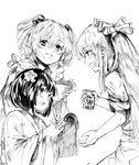 3girls absurdres apron aritsuno bell bow calligraphy_brush can checkered commentary_request flower fujiwara_no_mokou greyscale hair_bell hair_bow hair_flower hair_ornament hieda_no_akyuu highres holding holding_can japanese_clothes jingle_bell kimono long_hair long_sleeves monochrome motoori_kosuzu multiple_girls open_mouth paintbrush pants scroll shirt short_sleeves smile touhou wide_sleeves writing