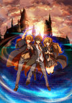 1girl 2boys arm_holding black_hair brown_hair closed_eyes glasses green_eyes harry_james_potter harry_potter hermione_granger highres hogwarts_school_uniform kapirusu long_hair multiple_boys necktie open_mouth orange_sky red_hair ron_weasley school_uniform skirt sky smile vest wand