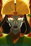 1girl avatar:_the_last_airbender avatar_(series) closed_mouth commentary english_commentary glowing glowing_eyes highres kyoshi_(avatar) lipstick looking_at_viewer makeup qinni solo watermark web_address