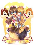 2boys absurdres animal_ears artist_name blue_eyes brown_hair character_name chip_(disney) dale_(disney) disney heart heart_hands heart_hands_duo highres looking_at_viewer maian male multiple_boys one_eye_closed open_mouth personification sailor_collar short_hair tail v white_background