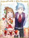 1boy 1girl alternate_costume arms_behind_back bell blue_eyes blue_hair blush bow brown_hair christmas collarbone cravat dated earrings embarrassed eyelashes formal fur_trim gift hair_bow haruka_(pokemon) height_difference hetero highres holding holding_gift jewelry looking_to_the_side midriff miyamotokannn nail_polish navel open_mouth pokemon pokemon_(game) pokemon_oras pom_pom_earrings red_nails see-through short_hair smile tsuwabuki_daigo waistcoat