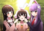 3girls :3 animal_ears bamboo bamboo_forest bangs black_hair blazer blue_coat blunt_bangs blurry blush bow bowtie bright_pupils bunny_ears carrot_necklace cheek_pinching cheek_poking commentary_request crossed_bandaids day depth_of_field dress dress_shirt eyebrows_visible_through_hair forest hair_between_eyes hand_on_another's_cheek hand_on_another's_face high_collar highres houraisan_kaguya inaba_tewi jacket long_hair long_sleeves looking_at_another looking_up multiple_girls nature necktie open_mouth outdoors pinching pink_dress pink_shirt poking puffy_short_sleeves puffy_sleeves purple_hair red_eyes red_neckwear reisen_udongein_inaba shirt short_sleeves sidelocks standing touhou tsukimirin upper_body very_long_hair white_neckwear white_pupils white_shirt