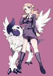 absol ace_trainer_(pokemon) amezawa_koma blonde_hair hair_ornament hairclip mega_absol mega_pokemon poke_ball pokemon pokemon_(anime) pokemon_(game) pokemon_xy ribbon skirt