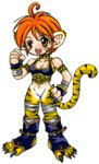 1girl animal_ears artist_request blush breasts breath_of_fire breath_of_fire_ii bustier cat_ears cat_tail chibi claws cleavage facial_mark full_body furry gloves green_eyes lowres no_panties no_pants open_mouth orange_hair rinpoo_chuan solo source_request tail